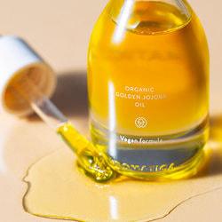Органическое масло с жожоба для уязвимой кожи лица Jojoba Golden Barrier Oil Aromatica. Вид 2