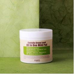 Увлажняющие пэды для очищения кожи с центеллой Centella Green Level All In One Mild Pad Purito. Вид 2