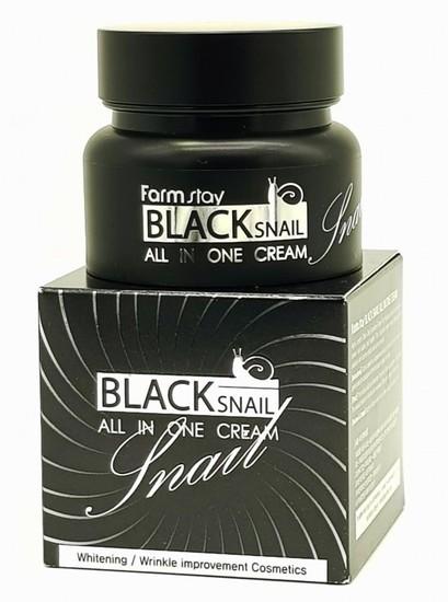 Восстанавливающий крем для лица с муцином черной улитки Black Snail All In One Cream FarmStay (фото)