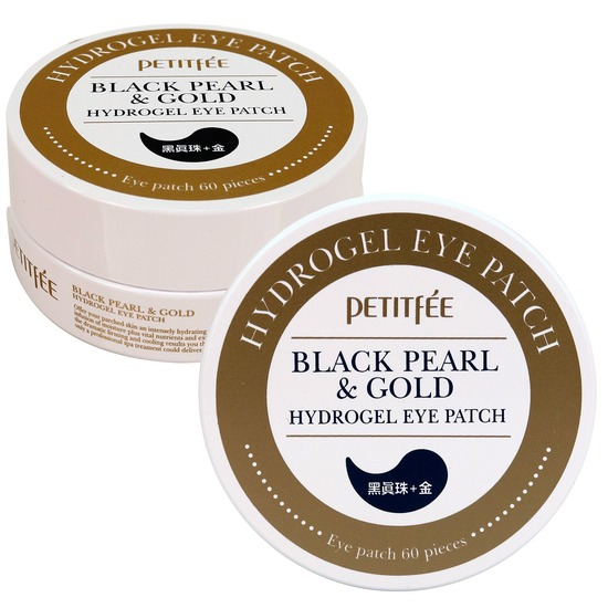 Патчи для глаз с экстрактом чёрного жемчуга и частицами золота Black Pearl and Gold Hydrogel Eye Patch Petitfee (фото)