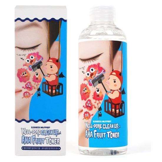 Очищающий тоник-пилинг для лица с фруктовыми кислотами Hell-Pore Clean Up AHA Fruit Toner Elizavecca (фото)