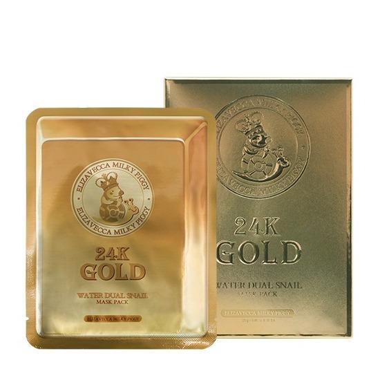 Маска тканевая с золотом и секретом улитки 24k Gold Water Dew Snail mask Elizavecca (фото)