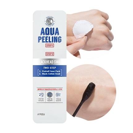 Двухшаговый набор для удаления черных точек Aqua Peeling BlackHead Swab Apieu