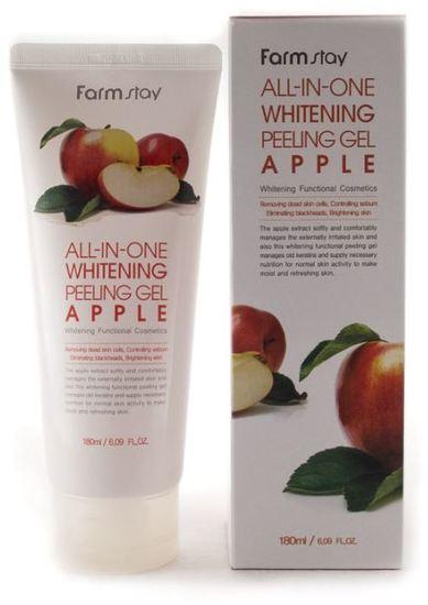 Осветляющий пилинг-гель с эктрактом яблока All-In-One Whitening Peeling Gel Apple FarmStay (фото)