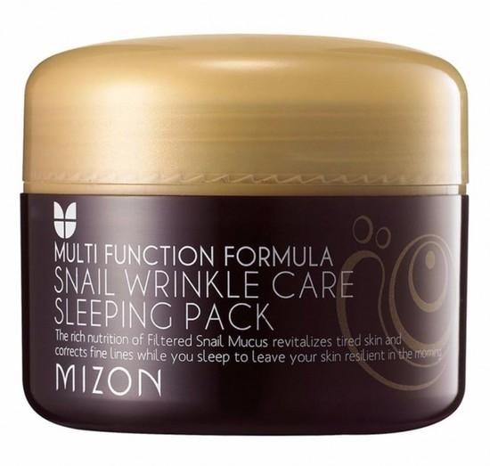Антивозрастная ночная маска для лица с экстрактом улиточной слизи Snail Wrinkle Care Sleeping Pack Mizon (фото)