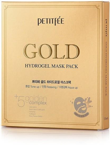 Гидрогелевая маска для лица с золотым комплексом +5 Gold Hydrogel Mask Pack golden complex Petitfee (фото)