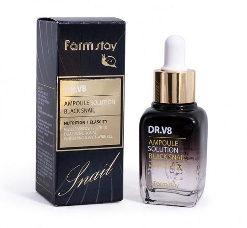 Многофункциональная ампульная сыворотка с муцином черной улитки и экстрактом икры DR.V8 Ampoule Solution Black Snail FarmStay