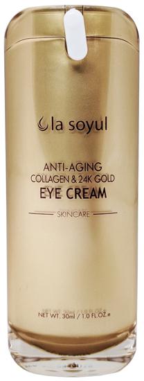 Антивозрастной крем для кожи вокруг глаз с коллагеном и частицами 24К золота Premium La Soyul