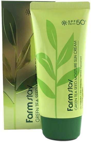 Солнцезащитный увлажняющий крем с семенами зеленого чая FarmStay