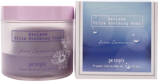 Ультра успокаивающие подушечки для лица с азуленом Azulene Ultra Soothing Pads Petitfee (фото)
