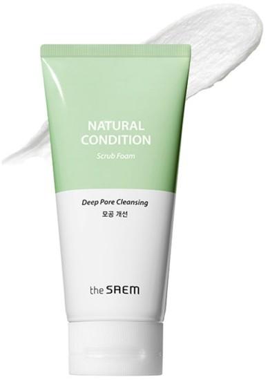 Глубоко очищающая пенка скраб для лица Natural Condition Scrub Foam The Saem
