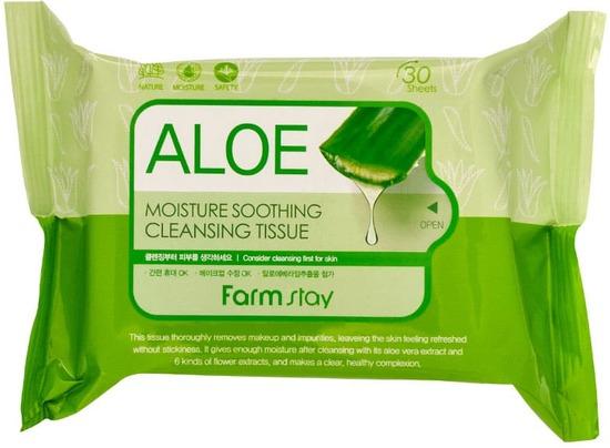 Увлажняющие успокаивающее салфетки с алоэ вера FarmStay (фото)