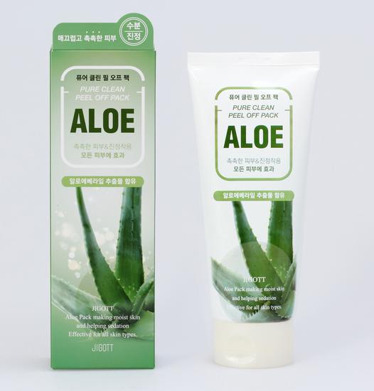 Маска плёнка для лица на основе экстракта алоэ Aloe Pure Clean Peel Off Pack Jigott