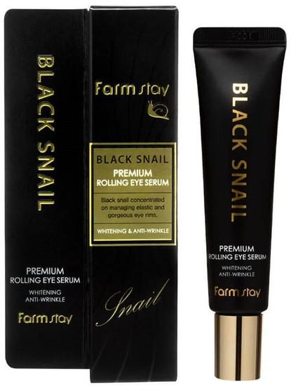 Антивозрастная сыворотка для кожи вокруг глаз с муцином улитки Black Snail Premium Rolling Eye Serum FarmStay (фото, сыворотка для глаз фармстей)