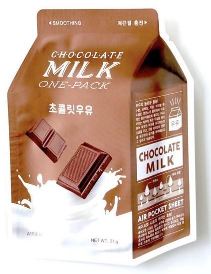 Тканевая маска для лица с экстрактом шоколада Chocolate Milk One-Pack Apieu
