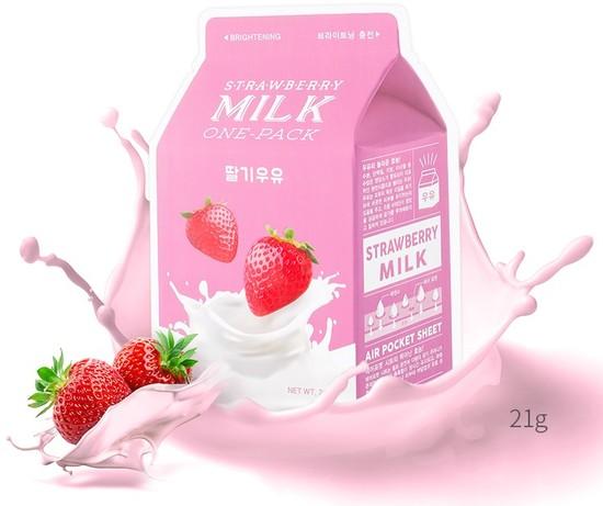 Тканевая маска для лица с экстрактом клубники Strawberry Milk One-Pack Apieu