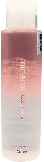 Двухфазное средство для снятия макияжа с губ и глаз с розовой водой Apieu