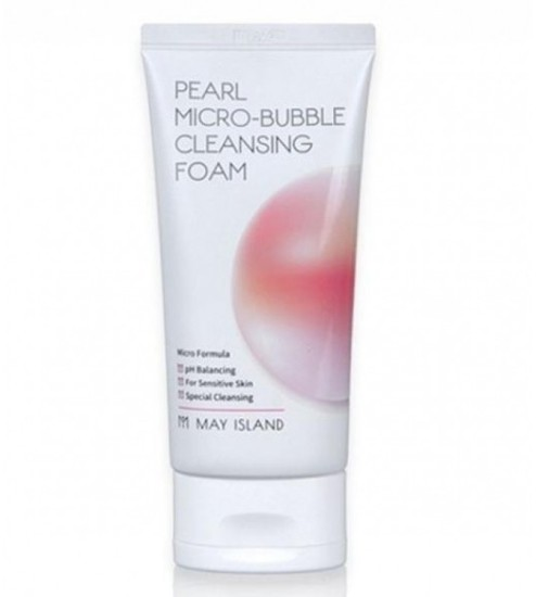 Микропузырьковая очищающая пенка для умывания с жемчугом Pearl Micro-Bubble Cleansing Foam May Island