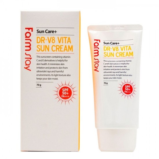 Солнцезащитный крем с витаминным комплексом и высокой степенью защиты DR-V8 Vita Sun Cream SPF50 FarmStay