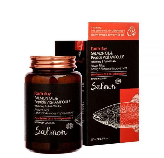 Многофункциональная ампульная сыворотка с маслом лосося и пептидами All-In-One FarmStay (фото)