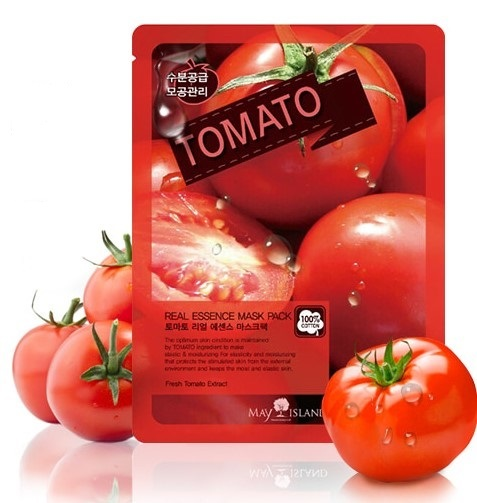 Тканевая маска для лица с экстрактом томата Real Essence Tomato Mask Pack May Island (фото)
