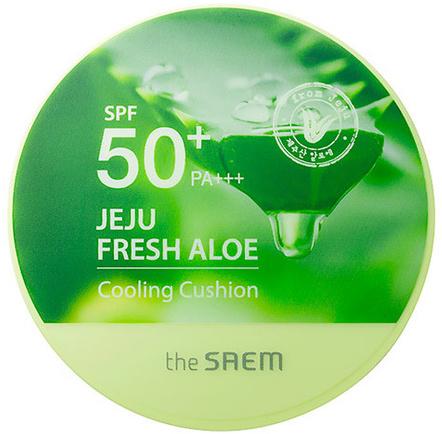 Кушон охлаждающий солнцезащитный Jeju Fresh Aloe Cooling Cushion Natural Baige SPF 50 The Saem (фото)
