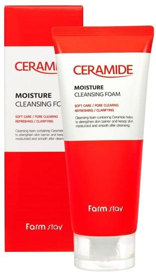 Увлажняющая очищающая пенка с керамидами Ceramide Moisture Cleansing Foam FarmStay