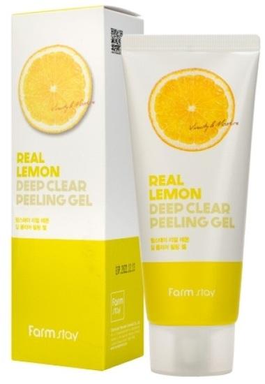 Отшелушивающий пилинг гель с экстрактом лимона Real Lemon Deep Clear Peeling Gel FarmStay
