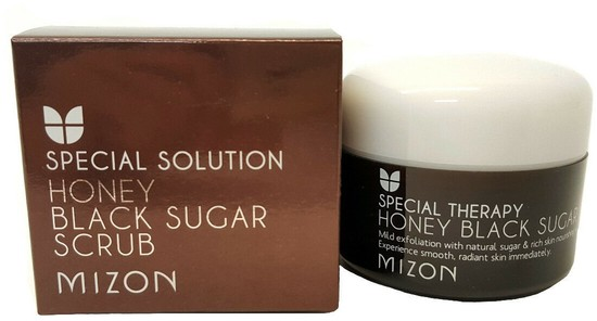 Скраб для лица с черным сахаром Honey Black Sugar Scrub Mizon (фото)