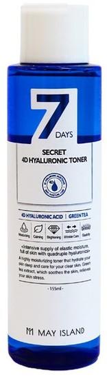 Увлажняющий тонер с 4 видами гиалуроновой кислоты 7 Days Secret 4D Hyaluronic Toner May Island