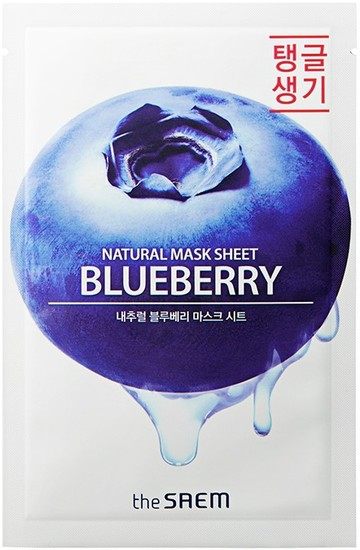 Тканевая маска с экстрактом черники Natural Mask Sheet Blueberry The Saem