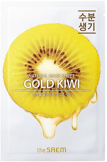 Тканевая маска для лица с экстрактом киви Natural Gold Kiwi Mask Sheet The Saem