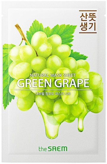 Тканевая маска с экстрактом винограда Natural Green Grape Mask Sheet The Saem