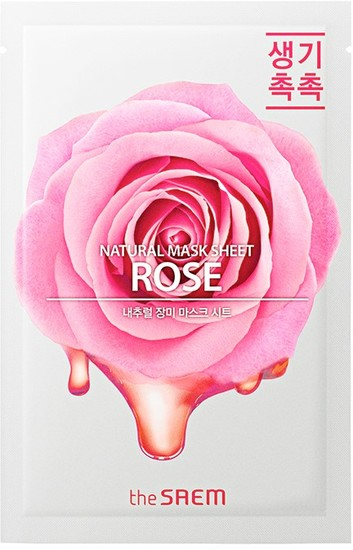 Тканевая маска для лица с экстрактом розы Natural Rose Mask Sheet The Saem