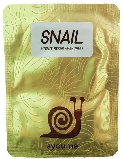 Антивозрастная тканевая маска с экстрактом муцина улитки Snail Intense Repair Mask Ayoume