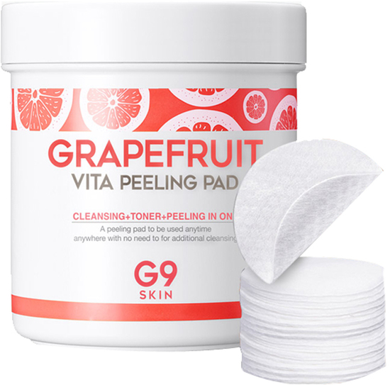 Ватные диски для пилинга лица с экстрактом грейпфрута Grapefruit Vita Peeling Pad G9SKIN (фото)