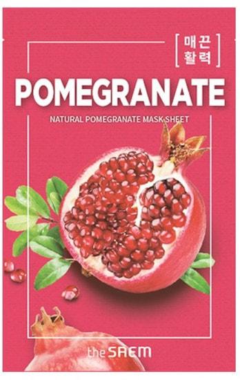 Тканевая маска для лица с экстрактом граната Natural Pomegranate Mask Sheet The Saem (фото)