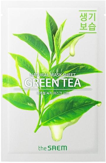 Тканевая маска для лица с экстрактом зеленого чая Natural Green Tea Mask The Saem (фото, Тканевая маска для лица с экстрактом зеленого чая The Saem)