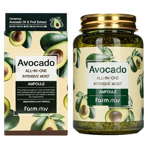 Многофункциональная ампульная сыворотка с экстрактом авокадо Avocado All-In-One Intensive Moist Ampoule FarmStay (фото, FarmStay Avocado All-In-One Intensive Moist Ampoule)