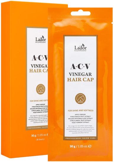 Освежающая маска шапка для поврежденных волос ACV Vinegar Hair Cap Lador (фото, Маска шапочка для волос с яблочным уксусом Lador ACV Vinegar Hair Cap)