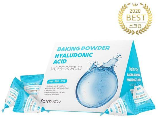 Скраб для лица с содой и гиалуроновой кислотой Hyaluronic Acid Baking Powder Pore Scrub FarmStay (фото, Скраб FarmStay Hyaluronic Acid Baking Powder Pore Scrub)