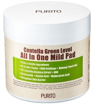 Увлажняющие пэды для очищения кожи с центеллой Centella Green Level All In One Mild Pad Purito (фото, пэды Purito Centella Green Level All In One Mild Pad)