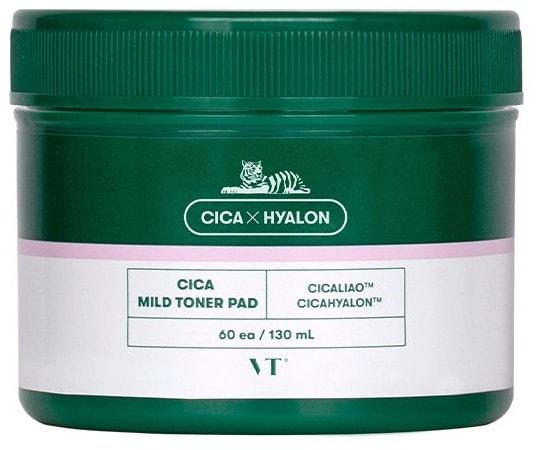 Успокаивающие пады для чувствительной кожи с центеллой Cica Mild Toner Pad VT Cosmetics (фото, пэды для чувствительной кожи с центеллой)