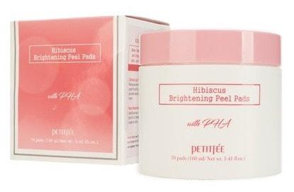 Пады с гибискусом и PHA кислотами Hibiscus Brightening Peel Pads Petitfee (фото, Выравнивающие подушечки с гибискусом и PHA-кислотами)