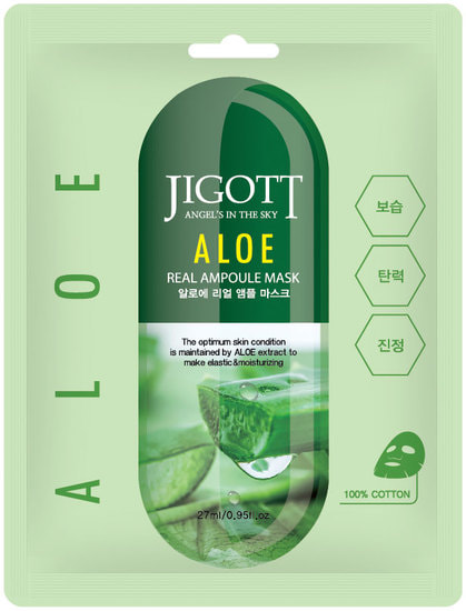 Ампульная маска для лица с экстрактом алоэ Aloe Real Ampoule Mask Jigott