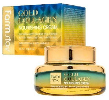 Питательный крем с золотом и коллагеном Gold Collagen Nourishing Cream FarmStay (фото, крем FarmStay Gold Collagen Nourishing Cream)
