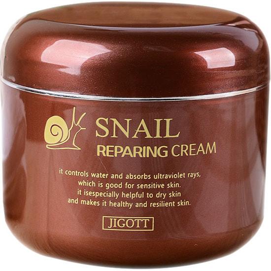 Восстанавливающий крем с экстрактом слизи улитки Snail Reparing Cream Jigott (фото, Восстанавливающий крем с экстрактом слизи улитки Jigott)