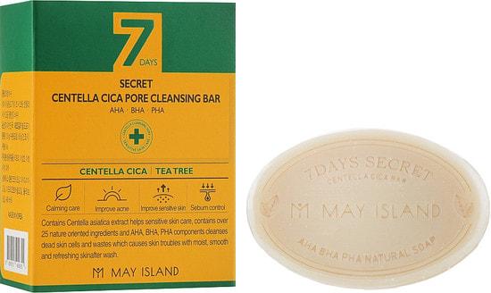 Мыло для проблемной кожи 7 Days Secret Centella Cica Pore Cleansing Bar May Island