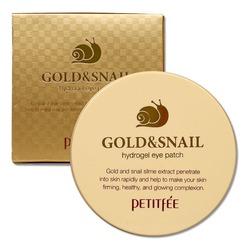 Гидрогелевые патчи с золотом и муцином улитки Gold & Snail Hydrogel Eye Patch Petitfee (Корея)