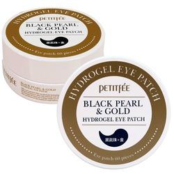 Патчи для глаз с экстрактом чёрного жемчуга и частицами золота Black Pearl and Gold Hydrogel Eye Patch Petitfee